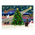 Christmas Magic Miniature Pinscher (cropped ears) Post Cards