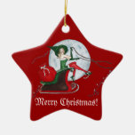 Christmas Magic Double-Sided Star Ceramic Christmas Ornament