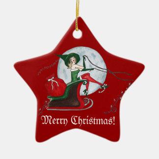 Christmas Magic Double-Sided Star Ceramic Christmas Ornament