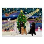 Christmas Magic Poodles - Standard (5) Greeting Card