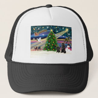 Christmas Magic Poodles (two black Toy) Trucker Hat