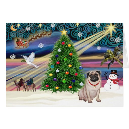 Christmas Magic Pug (fawn) Greeting Card