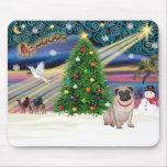 Christmas Magic Pug (fawn) Mouse Pads