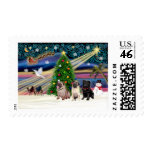 Christmas Magic Pugs (three, 2 fawn, 1 black) Stamps