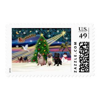 Christmas Magic Pugs (three, 2 fawn, 1 black) Stamps