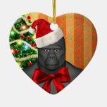 Christmas Magic Santa Ape Ornament Ceramic Heart Ornament