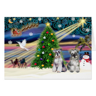 Christmas Magic Schnauzers (two) Card