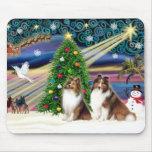 Christmas Magic Shetland Sheepdogs (2 Sable) Mouse Pad
