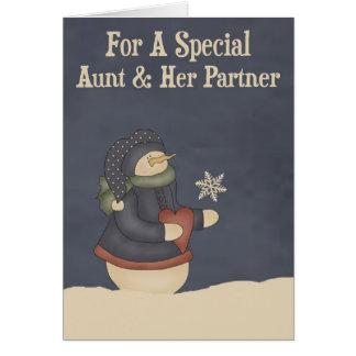 Christmas Magic Snowflake Aunt & Partner Card