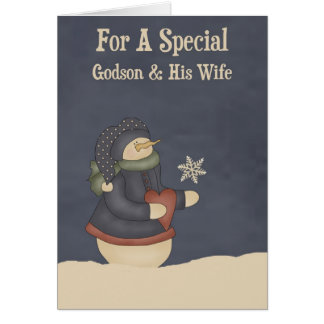 Christmas Magic Snowflake Godson & Wife Card