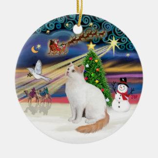 Christmas Magic - Turkish Van Cat Ceramic Ornament