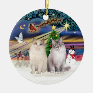Christmas Magic - Two Ragdoll cats Ceramic Ornament