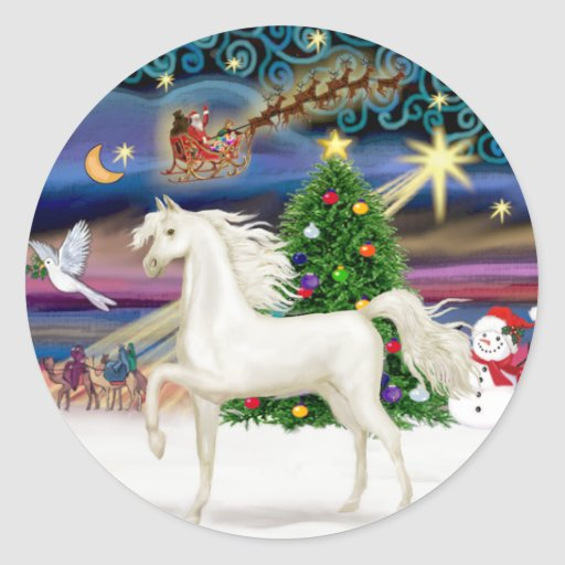 Christmas Magic - White Arabian Horse Round Sticker