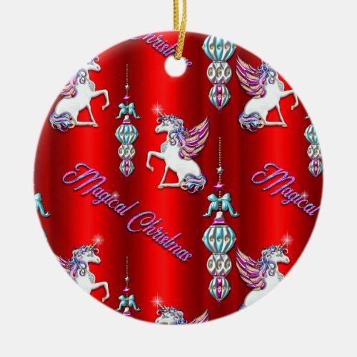 Christmas Magical Unicorns Red Ceramic Ornament