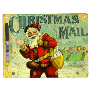 Christmas Mail Santa Claus Vintage Gift Card Art Dry Erase Board With Keychain Holder