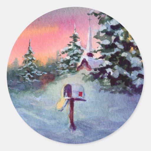 CHRISTMAS MAILBOX by SHARON SHARPE Classic Round Sticker