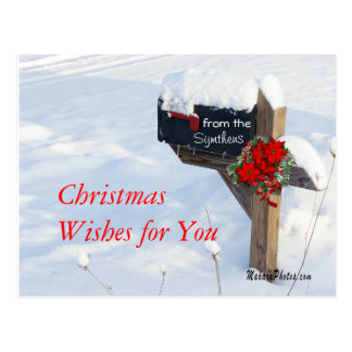 Christmas Mailbox & Poinsettias- customize Postcard