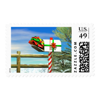 Christmas Mailbox Postage Stamp