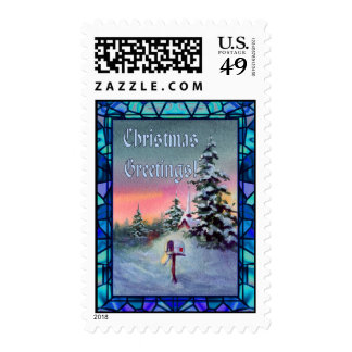 CHRISTMAS MAILBOX & STAINED GLASS POSTAGE