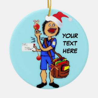 Christmas Mailman Ceramic Ornament