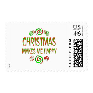 Christmas Makes Me Happy Postage Stamps