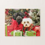 Christmas - Maltese - Annie and YorkiePoo - Hannah Jigsaw Puzzles