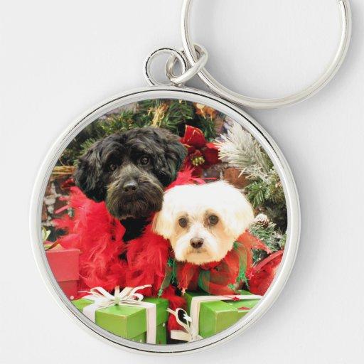 Christmas - Maltese - Annie and YorkiePoo - Hannah Silver-Colored Round Keychain