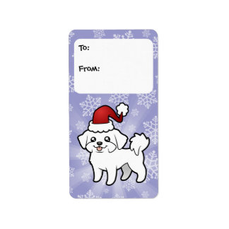 Christmas Maltese Gift Tags (puppy cut) Address Label