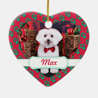 Christmas - Maltese - Max Double-Sided Heart Ceramic Christmas Ornament