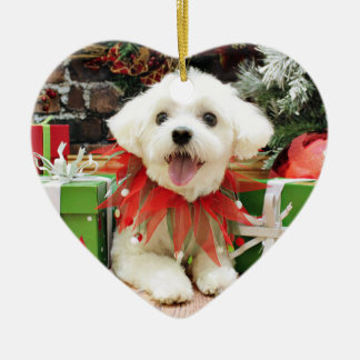 Christmas - Maltese - Miley Double-Sided Heart Ceramic Christmas Ornament
