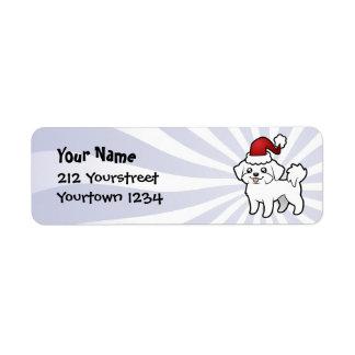 Christmas Maltese (puppy cut) Return Address Label