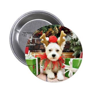 Christmas - Maltese X - Mugsy Pinback Button