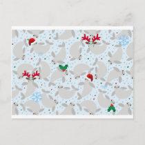 christmas manatee holiday postcard