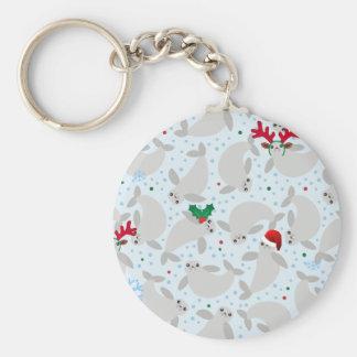 christmas manatee keychain