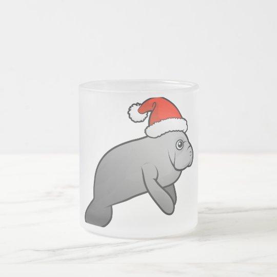 Christmas Manatee Santa Frosted Glass Coffee Mug