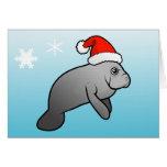 Christmas Manatee Santa Greeting Card