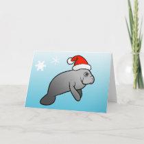 Christmas Manatee Santa Holiday Card