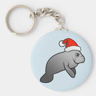Christmas Manatee Santa Key Chains