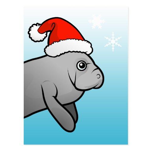 Christmas Manatee Santa Postcard