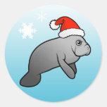 Christmas Manatee Santa Round Sticker