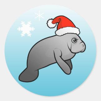 Christmas Manatee Santa Classic Round Sticker