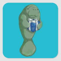 Christmas Manatee Square Sticker