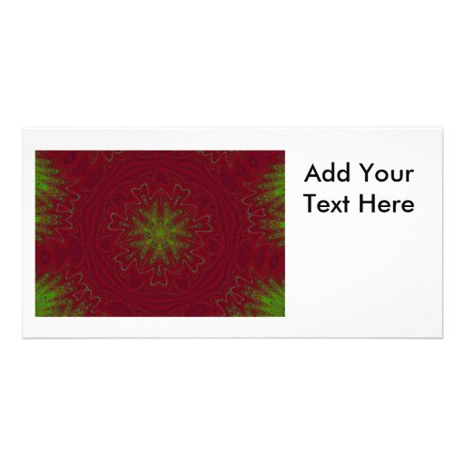 Christmas Mandala in Red and Green Custom Photo Card