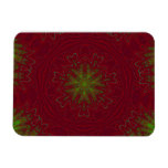 Christmas Mandala in Red and Green Rectangular Magnets