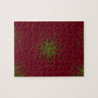 Christmas Mandala in Red and Green Puzzle