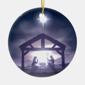 Christmas Manger Nativity Scene Ceramic Ornament