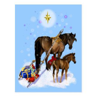 Christmas Mare and Baby Postcard