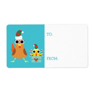 Christmas Maria & Bandit the Chickens Label