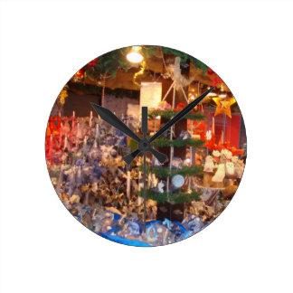 Christmas Market in Hamburg Wall Clocks