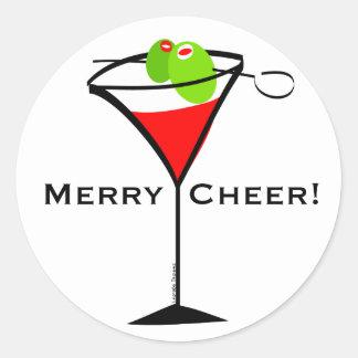 Christmas Martini Classic Round Sticker
